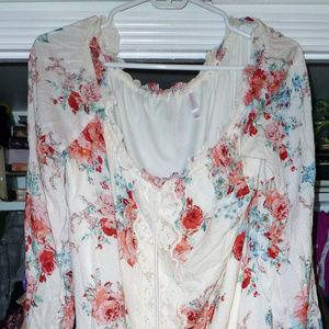 "xhilaration L pink white floral tunic 3/4 slvs 34"""